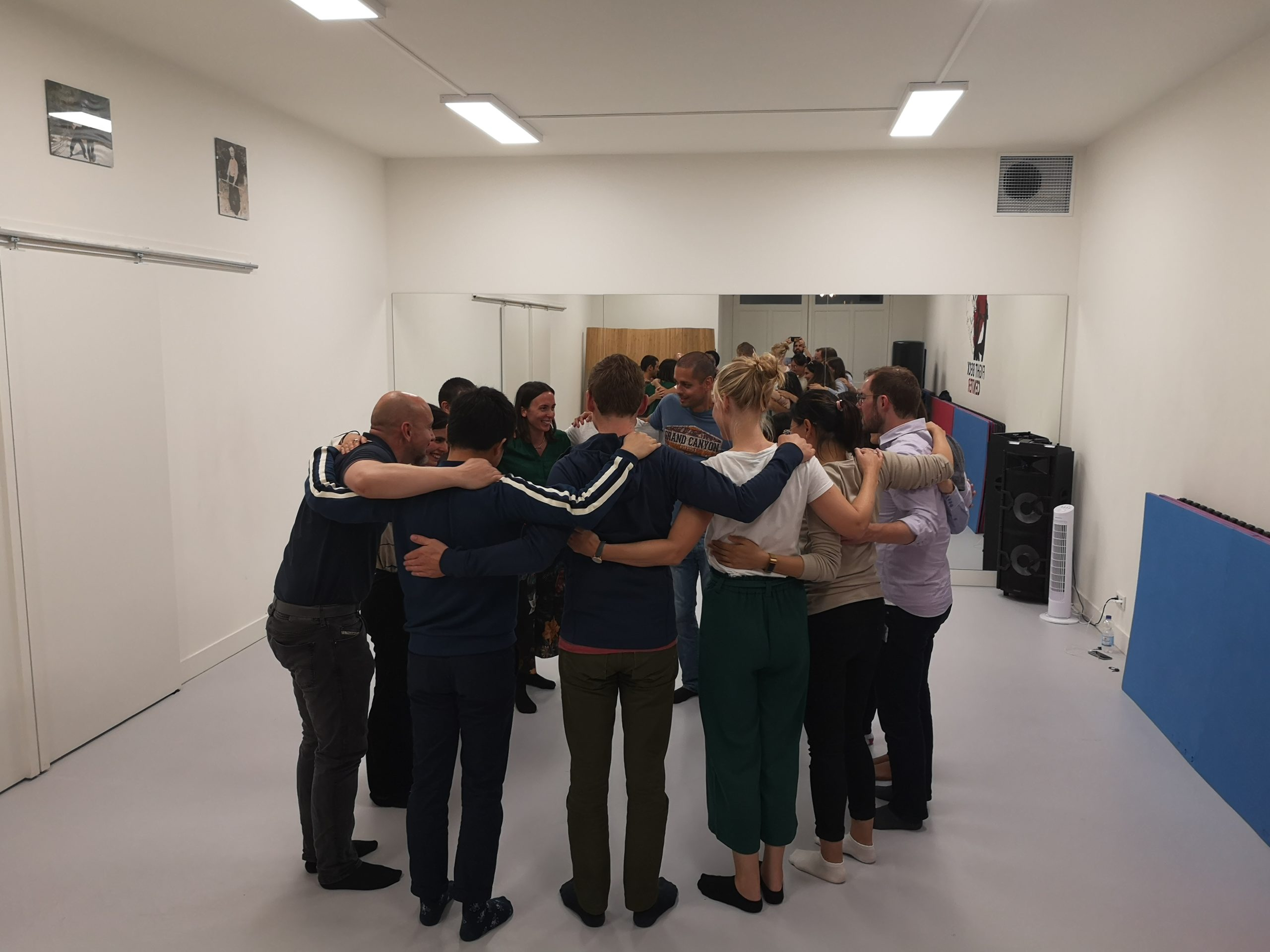 From the pure improv for beginners class. Group hug.